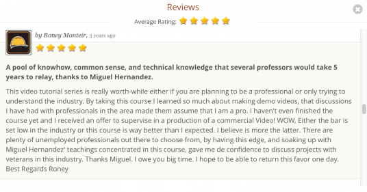 Here is one of hundreds of positive reviews I got on Udemy