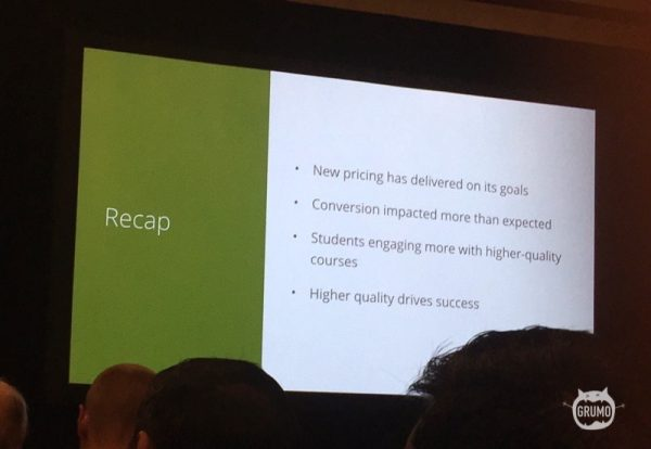Udemy price changes recap slide at #UdemyLive 2016