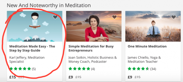 Karl's meditation course profiled on Udemy's home page!