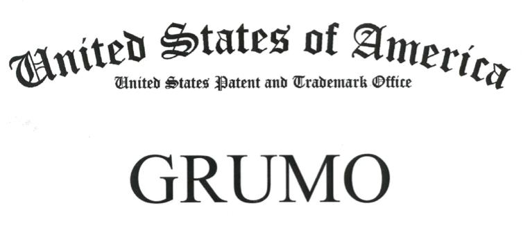 Header of the US Trademark certificate for GRUMO
